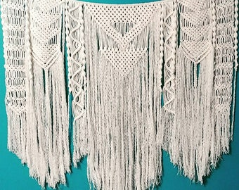 Large patterned cream colored Macrame wall hanging