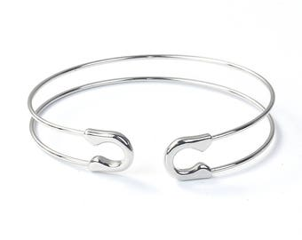 Bangle Bracelet Silver Tone Open Cuff High Quality Safety Pin Style - N056
