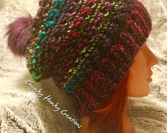 Multi coloured crochet beanie, slouchy hat, crochet toque