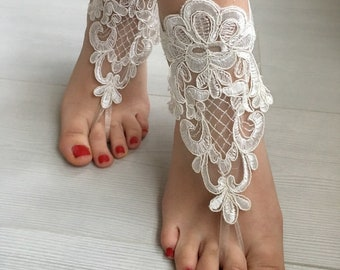 EXPRESS SHIPPING Ivory Barefoot Sandals, Wedding sandals, Bridal  Shoes, Beach wedding, foot jewelry  Bridesmaid sandals, Anklets sandals