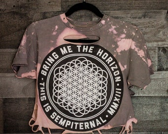 Bring Me The Horizon - Distressed shirt - Custom band shirt - Rock and Roll - Reworked band tee - Distressed - Shredded Dreams - Small