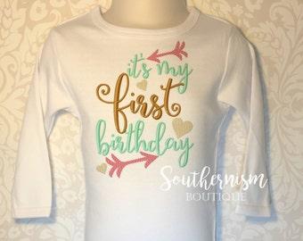 First Birthday Shirt, girls first birthday, birthday shirt, monogram birthday, personalized birthday, arrow birthday, heart birthday, 1st