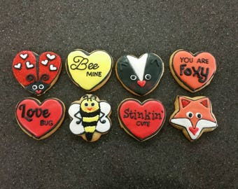 """Valentine's Day """"Critters and Hearts"""", Medium Sized Sugar Cookies, Custom Made and Decorated By Hand, DELICIOUS!!"""