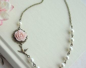 Blush Pink Rose, Ivory Pearls, Flying Swallow Bird, Bridal Wedding Jewelry. Bridesmaid Gifts. Blush Pink Wedding. Sparrow Bird.
