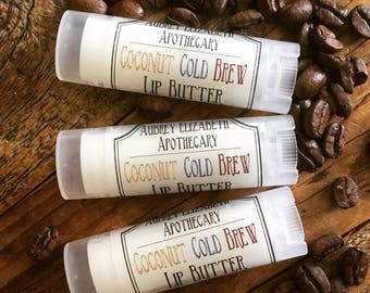 Coconut cold brew Lip butter - gift for him - chapstick - lip balm - coffee addict - aubrey elizabeth