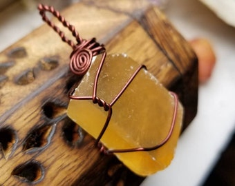 Honey Calcite Necklace Pendant for Amplified Personal Power and Will