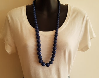 Vintage Teal Blue  Round Bead Necklace