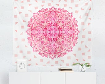Pink Tapestry | Pink Wall Tapestry | Pink Wall Décor | Pink Gift | Pink Wall Art | Pink Art | Pink Décor | Mandala Wall Tapestry