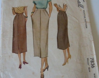 McCall Skirt Pattern 7836 Waist 26 Sewing Supply