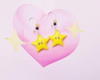 earrings geek mario star  polymer clay