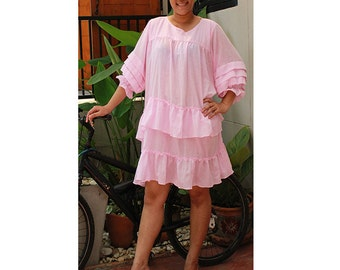 Light Pink cotton Ruffle Short Loose Tunic dress one size fit all ((H)