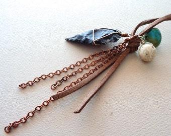 Arrowhead Necklace Suede/Turquoise Feldspar Arrowhead / Boho Tribal Bohochic/Chain Leather Suede Black Arrowhead/Long Suede Necklace/GB19