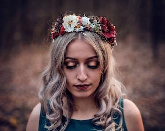 Romantic autumn christmas forest floral Christmas boho flower hair wreath
