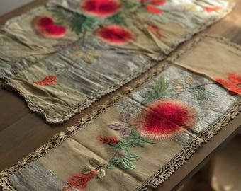 Antique Japanese Silk Embroidered Table Runners Pair