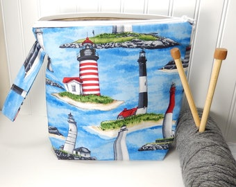 Knitting project bag, lighthouse knitting bag, nautical project bag, knitters gift, knitting pouch, work in progress, lighthouse bag