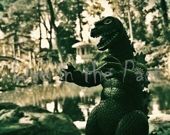 Godzilla toy in Japanese Garden 8x10 action figure photo print