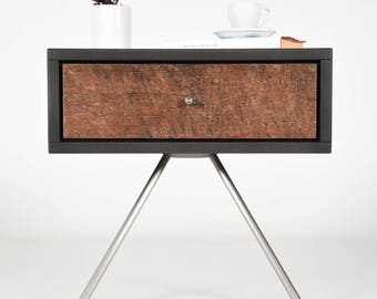 Mid Century modern Nightstand with drawer in old chestnut / Modern bedside table / Bedroom furniture scandinavian / Modern console