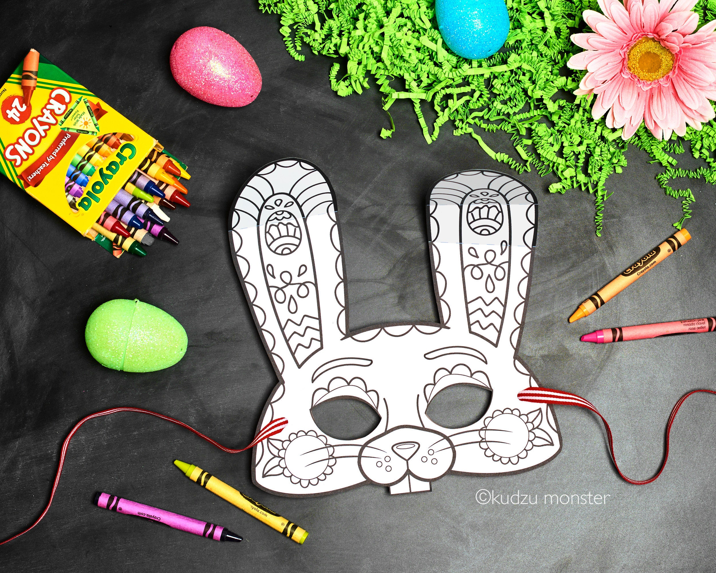 Ostern Hase druckbare Färbung Maske Kinder nette Farbe