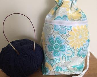 Laminated Knitting Crochet Project Bag - Soleil Blue Garden