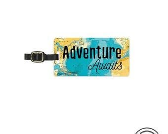 Luggage Tag Adventure Awaits Vintage Map Metal Luggage Tag With Printed Custom Info On Back, Single Tag