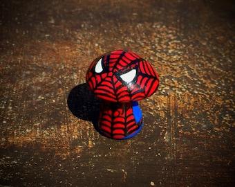 OOAK Marvel Comics Inspired Spiderman - Mini Character Pop Culture 'Shroom - Handpainted Polymer Clay Sculpture