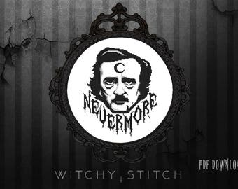 Edgar Allan Poe ~ Nevermore - Cross Stitch Pattern, Modern, The Raven, Poetry, Halloween, Gothic, Macabre