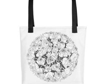 Roses Bouquet Black & White Illustration Design Tote bag