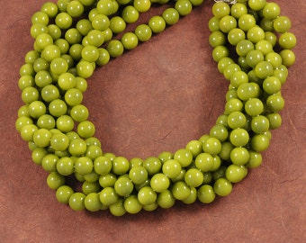 Mottled Avocado Green Smooth Glass 10mm Rounds - Full 16 inch Strand