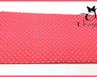 COUPON fabric cotton coral polka dots white SCRAPBOOKING sewing CUSTOMISATION DECORATION 49 X 49 cm