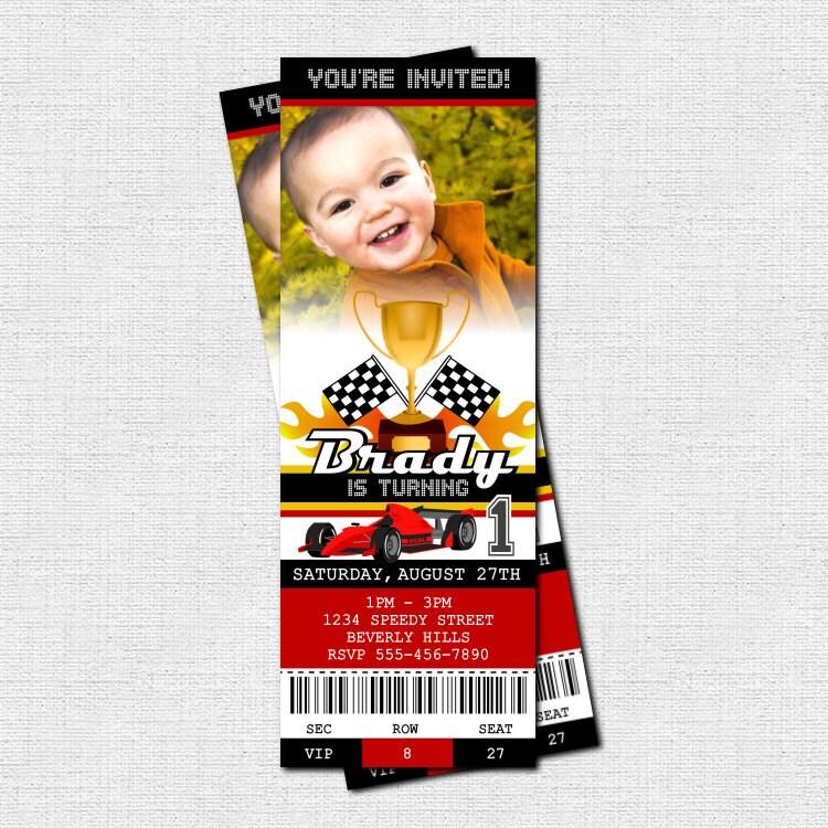 Race Car Ticket Birthday Invitation Racing Go-Kart Party