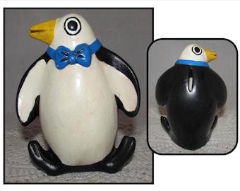 Vintage Ceramic Penguin Bank, piggy bank, hand painted