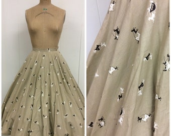 1950s Carriage Stagecoach Novelty Print Circle Skirt 50s Cotton