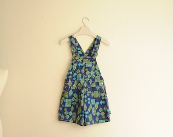 Vintage 60's Blue & Green Pattern Overall Denim Shorts, Union Made by Big Smith, Womens XS / ITEM537