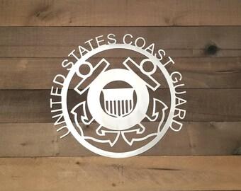 Military Sign/United States Coast Guard Logo Metal Wall Art/Gift Idea/USCG/Miltary Art