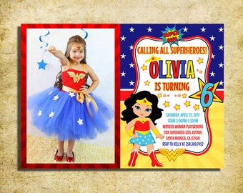 Wonder Woman Invitation - WW - Wonder Woman Birthday Party Invite With Photo - Printable And Digital File - YOU PRINT