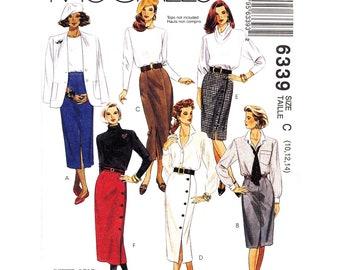 90s Slim Skirt Pattern McCalls 6339 Wrap Skirt Side Buttons Slit Skirt Waistband Womens Size 10 12 14  Sewing Pattern UNCUT