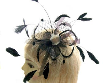 Black net and feather fascinator comb, Weddings, Races, Ascot,Ladies Day