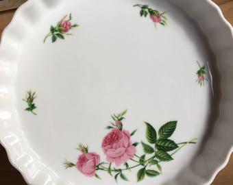 Christineholm rose decorated flan quiche pie dish