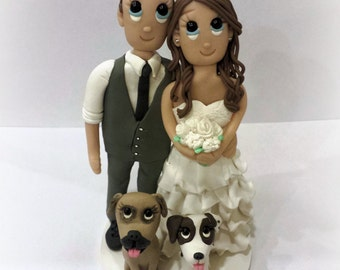 Custom Wedding Cake Topper with Ruffle Dress and 2 Dogs
