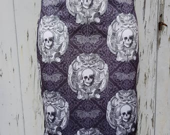 Gothic Skull & Bat Pencil Skirt - Size 8 10 12 14 - Bodycon Wiggle Goth Horror Halloween