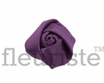 PURPLE Rosette, Satin Rolled Rosette, Fabric rose, Rolled Rosette, Wholesale Flower, Fabric Flower, Wedding Flower, Flower Embellishment