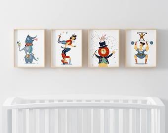 Set of 4 Boy Nursery Wall Art, Circus Nursery Decor, Baby Boy Nursery, Nursery Wall Art, Circus Decor, Boy's Room Decor, Gender Neutral