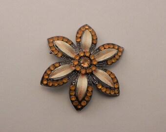 Vintage Orange Rhinestone Brooch, Daisy Flower Pin