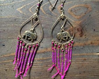 Hot pink & gold Elephant beaded fringe Earrings