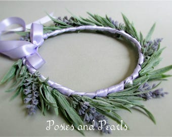 "Lavender Flower Crown, Light Puple and Green Silk Flower Head Wreath, Floral Halo, Spring Wedding, ""Provence"""