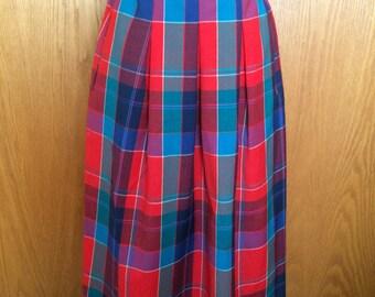 80s Pendleton Wool Plaid Midi Skirt w/Pockets - Preppy, East Coast, Harvard Chic