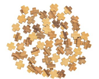 50 Very Small Olive Wood Jerusalem Crosses 1.2 cm