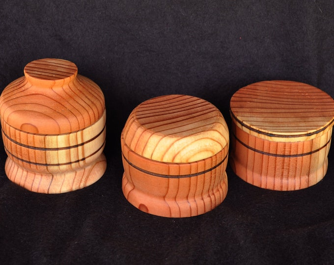 3-Hand made from beautiful redwood thread bits box or ort to hold scrap threads or bits