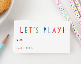 Play Date Calling Cards, Kids Calling Cards, Boys, Girls, Kids, Children, End of School, Mommy Calling Cards, Let's Play, Set of 20