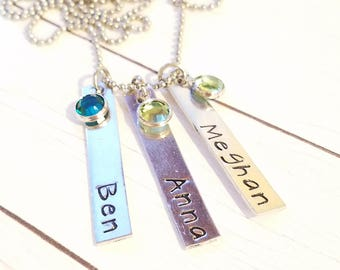 Birthstone Bar necklace Mother's Grandmother's